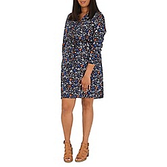 Samya - Navy daisy print tie dress