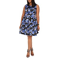 Samya - Blue butterfly and flower printed dress