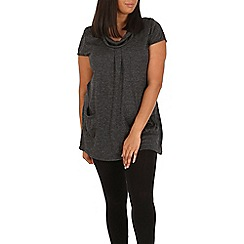 Samya - Dark grey round neck patch pocket top