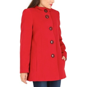 David Barry Red funnel neck coat