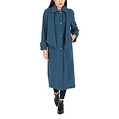 David Barry - Turquoise scarf full length coat