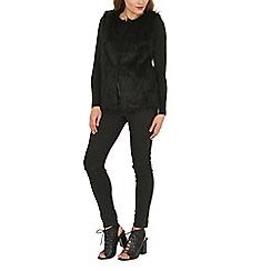 Mela - Black faux fur gillet