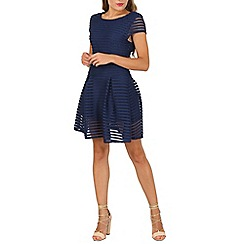 Cutie - Navy stripe textured a-line dress