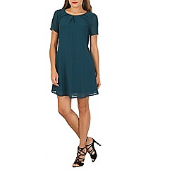 Cutie - Turquoise pleated shift dress