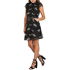 Cutie - Black high neck printed chiffon dress