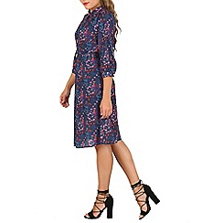 Cutie - Blue colourful bird shirt dress