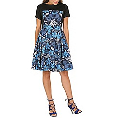 Cutie - Blue floral high neck dress