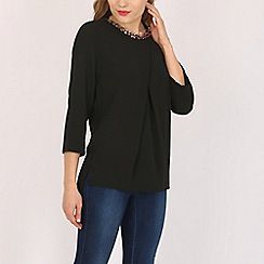 Voulez Vous - Black pleat neck embellished top