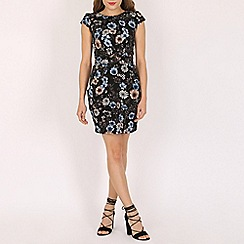Voulez Vous - Black chalky floral tie back pleat dress