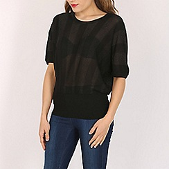 Voulez Vous - Black metallic striped batwing top