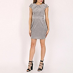 Blue Vanilla - Grey tie back pleat dress