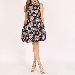 Oeuvre - Pink rose print a line dress