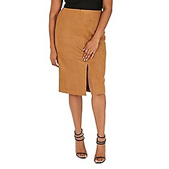 Samya - Camel suede split pencil skirt