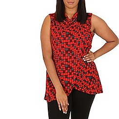 Samya - Red high neck abstract print top