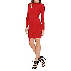Jane Norman - Red black wrap slash neck dress