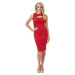 Jane Norman - Red jersey keyhole dress