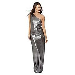 Jane Norman - Silver foil one shoulder dress