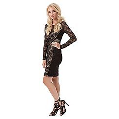 Jane Norman - Black floral geo lace dress