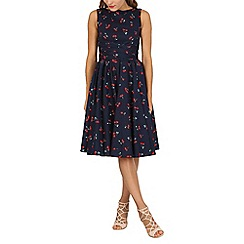 Jolie Moi - Navy retro floral print wrap belted dress