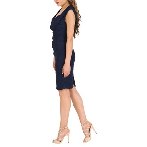 Plus Size Jolie Moi Navy (Blue) Crossover Bust Ruched Shift Dress