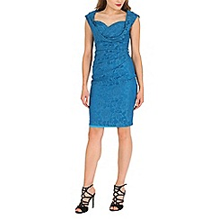 Jolie Moi - Dark turquoise crossover bust ruched shift dress
