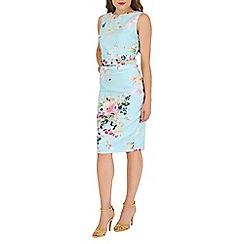 Jolie Moi - Aqua floral print ruched shift dress