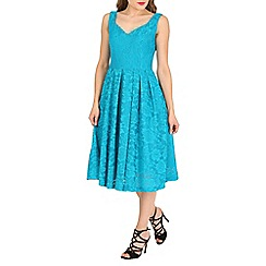 Jolie Moi - Dark turquoise lace bonded sweetheart prom dress