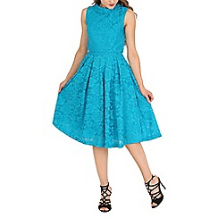 Jolie Moi - Dark turquoise lace bonded overlay prom midi dress