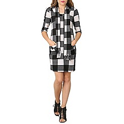 Stella Morgan - Black 3/4 sleeve checkered dress