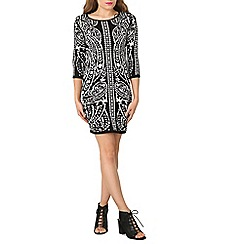 Stella Morgan - Black paisley print knitted dress