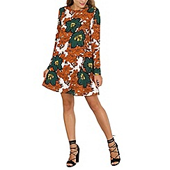 Mela - Orange autumn leave shift dress