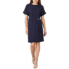 Izabel London - Navy drop shoulder belted dress
