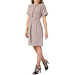 Izabel London - Grey drop shoulder belted dress