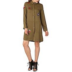 Izabel London - Khaki military style shirt dress