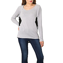 Izabel London - Light grey sheer side panel jersey top