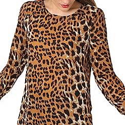 Izabel London - Brown leopard print split top