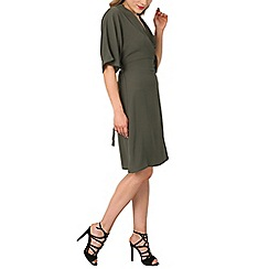 Izabel London - Khaki ruched front tea dress