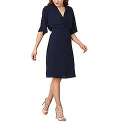 Izabel London - Navy ruched front tea dress