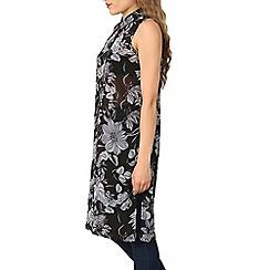 Izabel London - Black floral print chiffon shirt