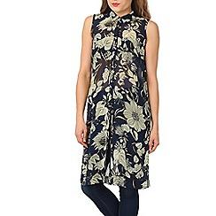 Izabel London - Green floral print chiffon shirt
