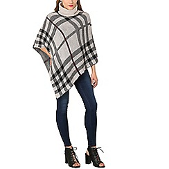 Izabel London - Beige roll neck checked poncho