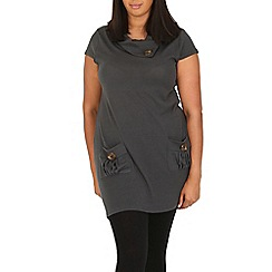 Samya - Grey tunic top with oversized buttons