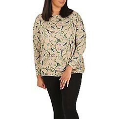 Samya - Light brown floral swallow print top