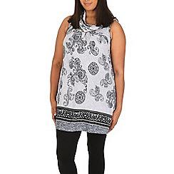 Samya - Grey cowl neck printed top