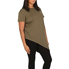 Samya - Khaki asymmetric short sleeve top