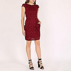 Voulez Vous - Wine floral lace pleated dress