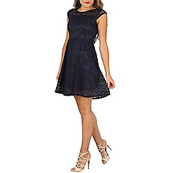 Tenki - Navy cap sleeve lace dress