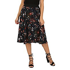 Tenki - Black flower print skirt