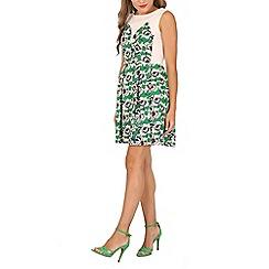 Tenki - Green two tone flower print pleated skirt dress