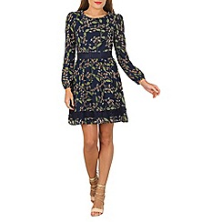Tenki - Blue full sleeve flower print lace insert dress